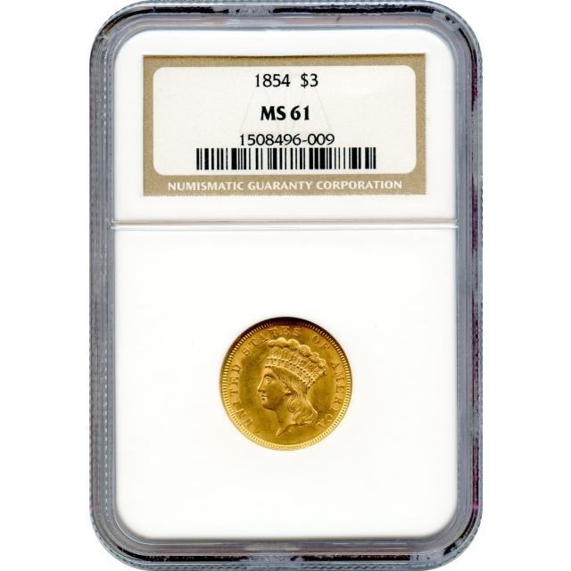1854 $3 Indian Princess Three Dollar NGC MS61