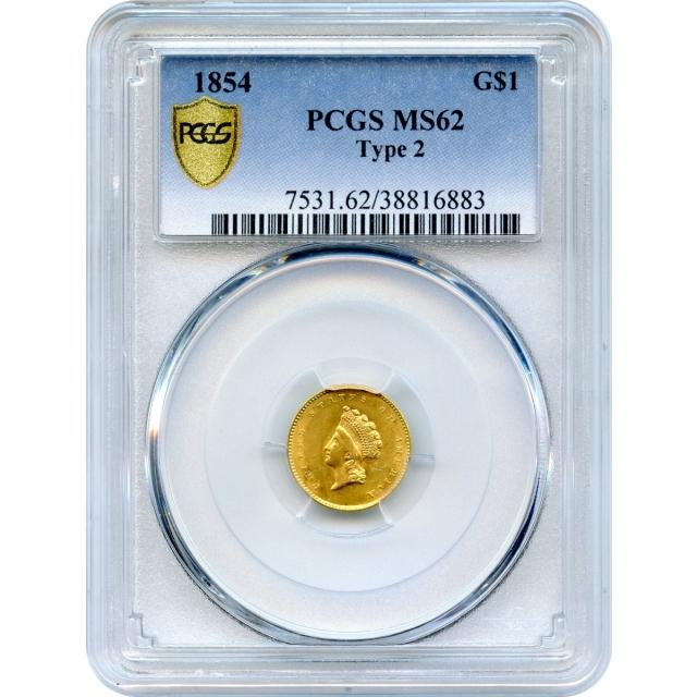 1854 G$1 Indian Princess Gold Dollar, Type 2 PCGS MS62