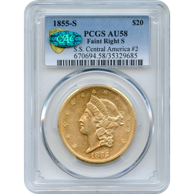 1855-S $20 Liberty Head Double Eagle 14H PCGS AU58 (CAC) Ex.SS Central America