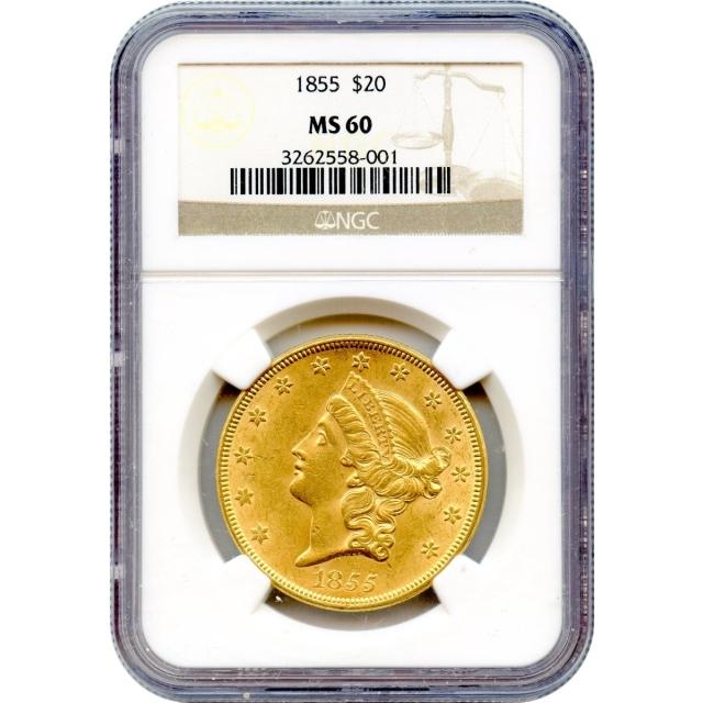 1855 $20 Liberty Head Double Eagle NGC MS60