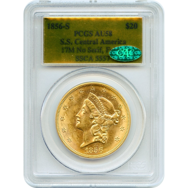 """1856-S $20 Liberty Head Double Eagle, variety 17M, PCGS AU58 (CAC) """"Ex. SS Central America"""""""