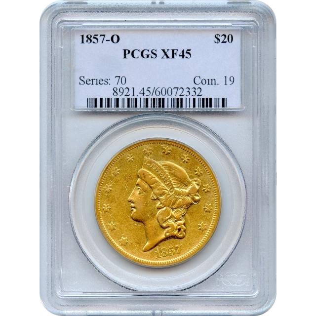 1857-O $20 Liberty Head Double Eagle PCGS XF45