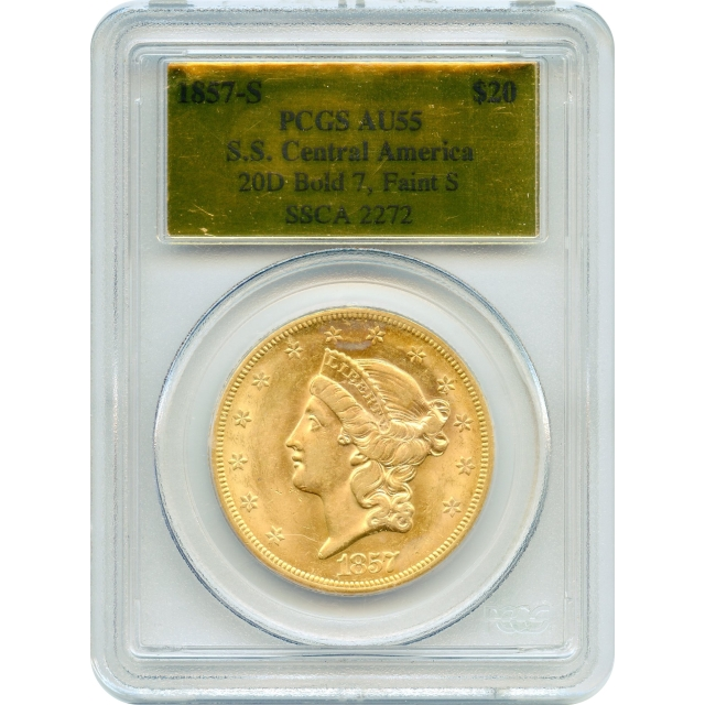 1857-S $20 Liberty Head Double Eagle, variety 20D PCGS AU55 Ex.SS Central America