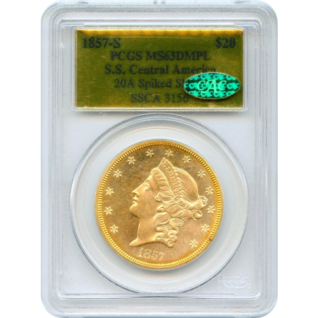1857-S $20 Liberty Head Double Eagle 20A PCGS MS63 Deep Mirror Prooflike (CAC) Ex.SS Central America