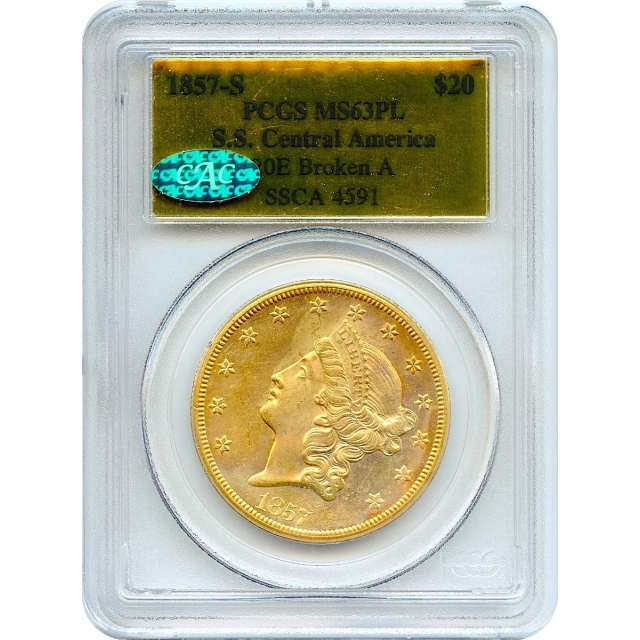 1857-S $20 Liberty Head Double Eagle 20E PCGS MS63 (CAC) Prooflike