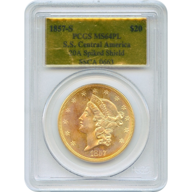 1857-S $20 Liberty Head Double Eagle 20A PCGS MS64 Prooflike Ex.SS Central America
