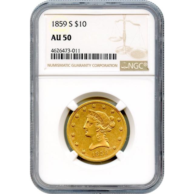 1859-S $10 Liberty Head Eagle NGC AU50 - Underrated Gold Rarity-!
