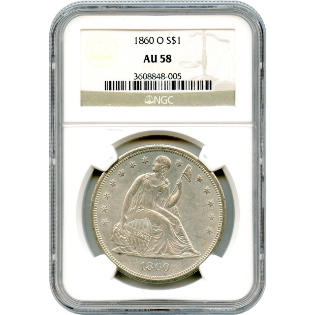 """1860-O $1 Liberty Seated Silver Dollar NGC AU58 """"Great Type Coin"""""""