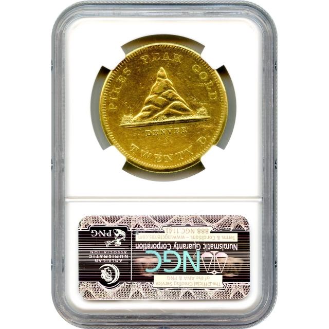 1860 $20 Colorado Gold - Clark Gruber 'Pikes Peak' Double Eagle NGC AU Details