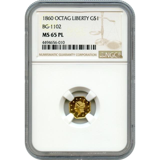 BG-1102 G$1 1860 California Fractional, Liberty Octagonal NGC MS65PL R4