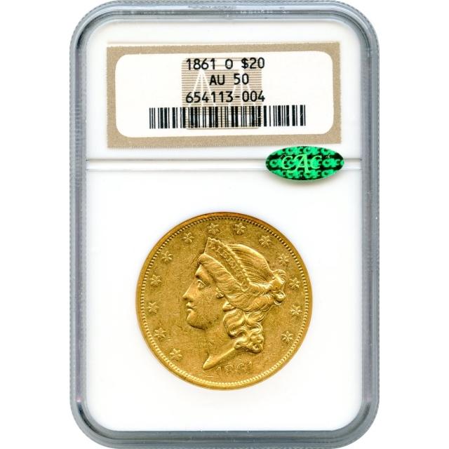 1861-O $20 Liberty Head Double Eagle NGC AU50 (CAC)