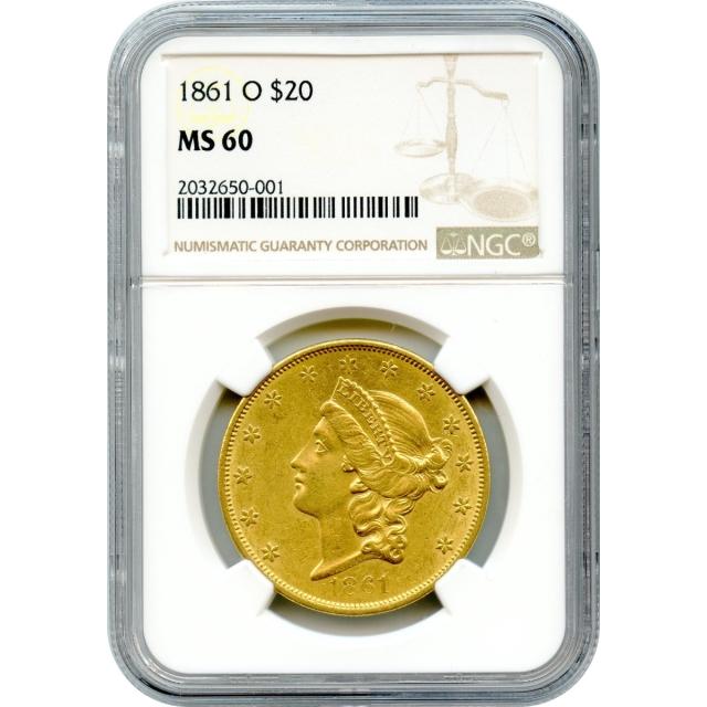 1861-O $20 Liberty Head Double Eagle NGC MS60