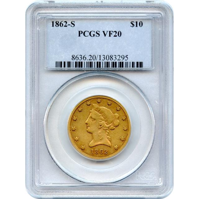 """1862-S $10 Liberty Head Eagle PCGS VF20 """"Very Rare in All Grades"""""""