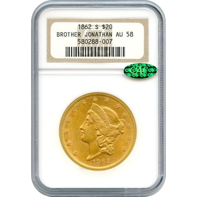 1862-S $20 Liberty Head Double Eagle NGC AU58 (CAC) Ex.SS Brother Jonathan