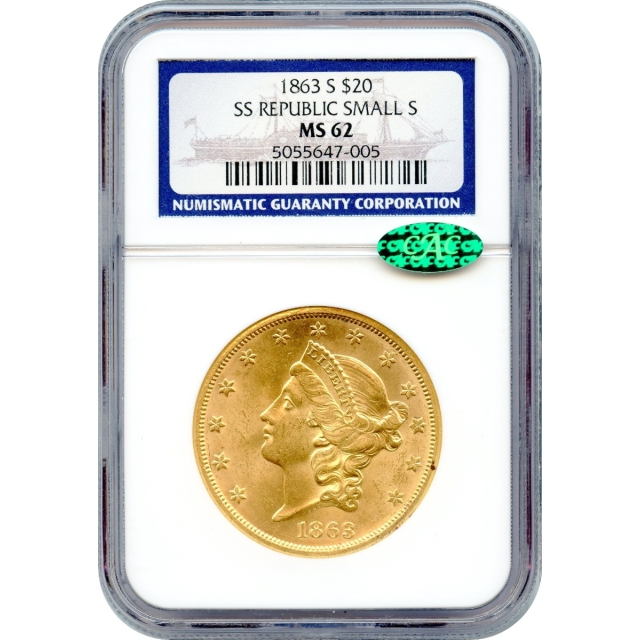 1863-S $20 Liberty Head Double Eagle MS62 (CAC) Ex.SS Republic w/Box & COA