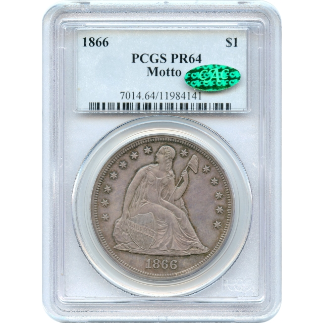 1866 $1 Liberty Seated Silver Dollar, with Motto PCGS PR64 (CAC)