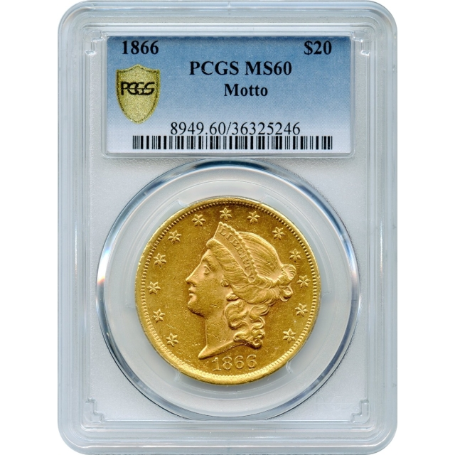1866 $20 Liberty Head Double Eagle, with Motto PCGS MS60