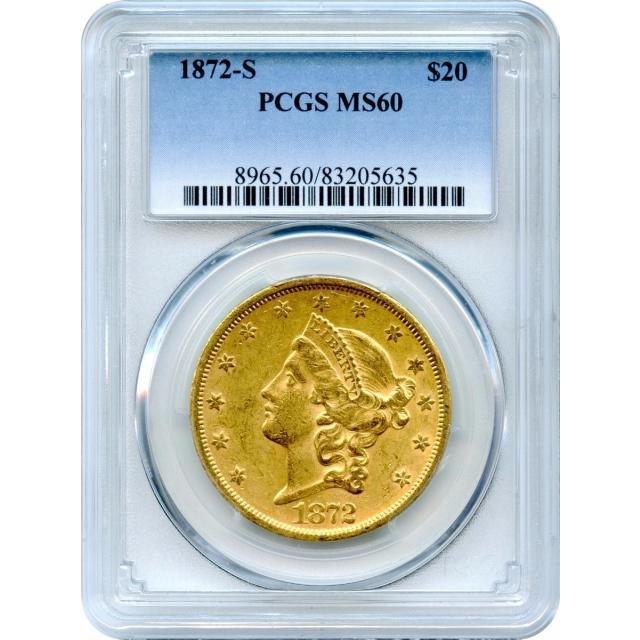 1872-S $20 Liberty Head Double Eagle PCGS MS60