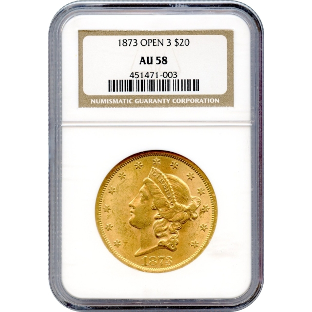 1873 $20 Liberty Head Double Eagle NGC AU58
