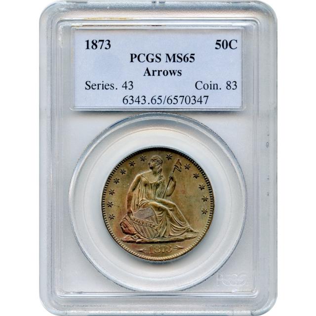 1873 50C Liberty Seated Half Dollar, Arrows PCGS MS65