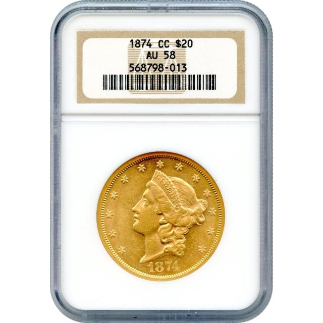 1874-CC $20 Liberty Head Double Eagle NGC AU58
