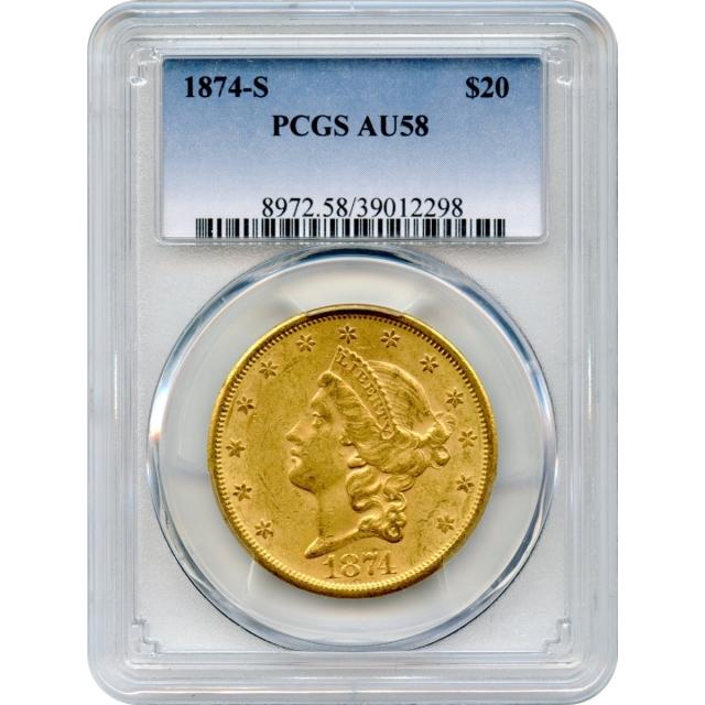 1874-S $20 Liberty Head Double Eagle PCGS AU58