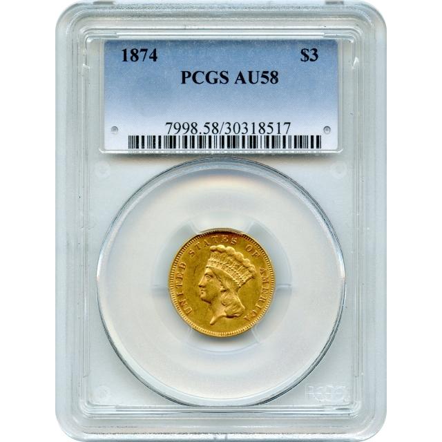 1874 $3 Indian Princess Three Dollar PCGS AU58