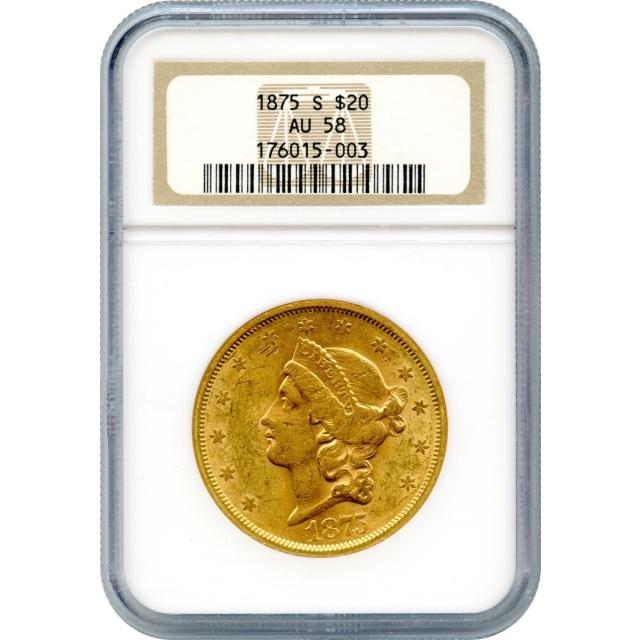 1875-S $20 Liberty Head Double Eagle NGC AU58