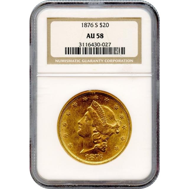 1876-S $20 Liberty Head Double Eagle NGC AU58