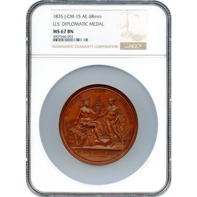 (1776-dated) U.S. Diplomatic Modern Restrike Medal, Bronze NGC MS67BN