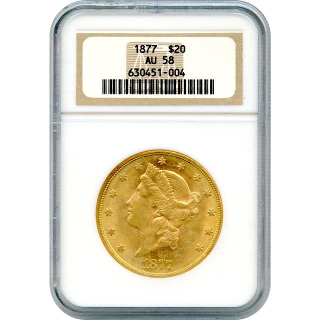 1877 $20 Liberty Head Double Eagle NGC AU58