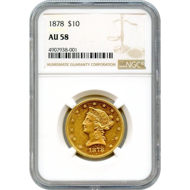 1878 $10 Liberty Head Eagle NGC AU58