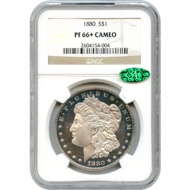 1880 $1 Morgan Silver Dollar NGC PR66+Cameo (CAC) - A Stunning Beauty!