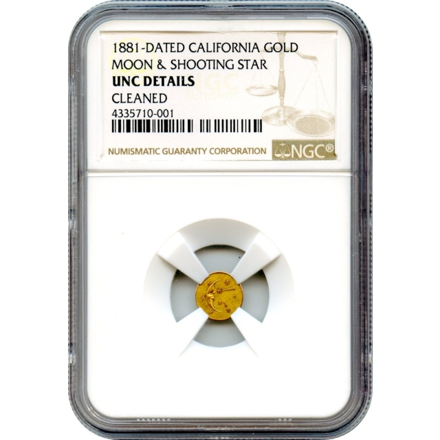 Token - 1882-Dated California Moon & Shooting Star Gold Charm NGC UNC Details