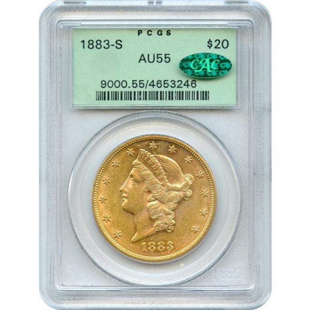 1883-S $20 Liberty Head Double Eagle PCGS AU55 (CAC)