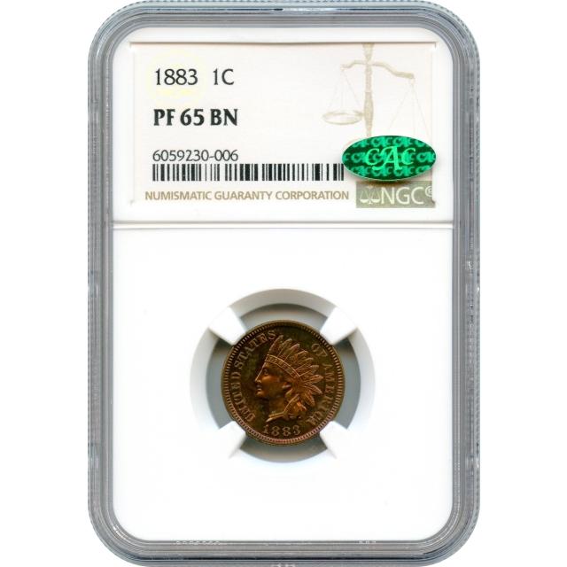 1883 1C Indian Head Cent PR65BN (CAC)
