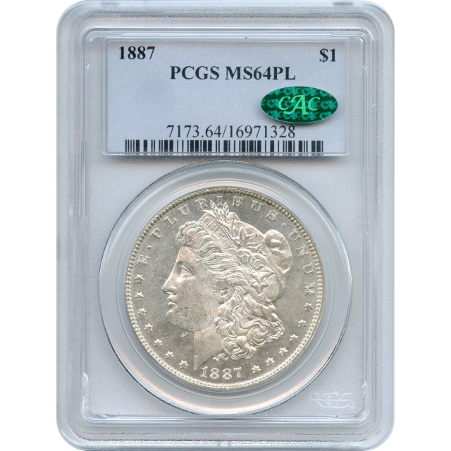 1887 $1 Morgan Silver Dollar PCGS MS64PL (CAC)