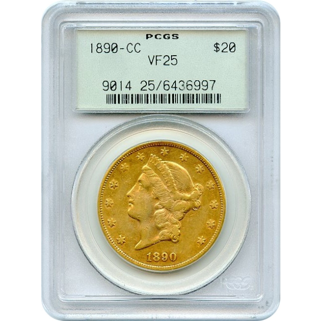 1890-CC $20 Liberty Head Double Eagle PCGS VF25 (OGH)