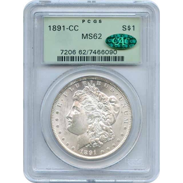 1891-CC $1 Morgan Silver Dollar PCGS MS62 (CAC)
