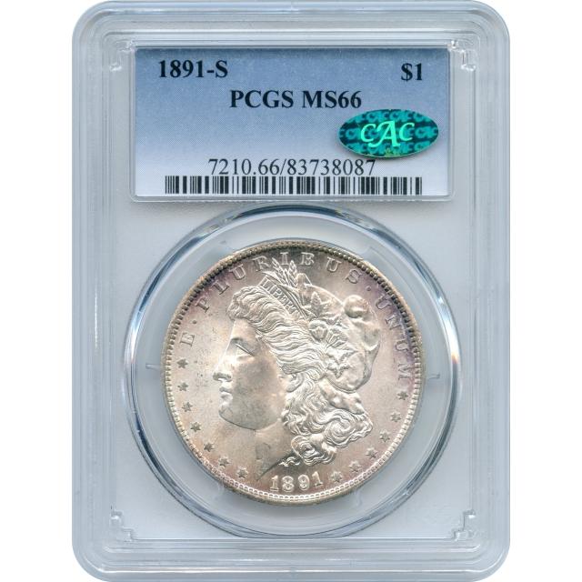 1891-S $1 Morgan Silver Dollar PCGS MS66 (CAC)