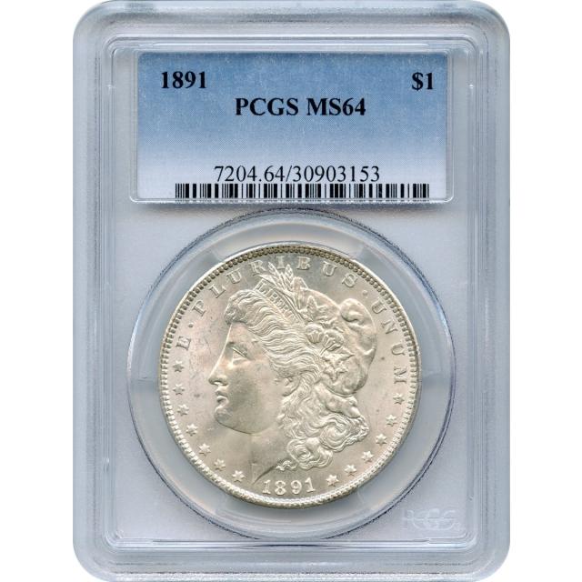 1891 $1 Morgan Silver Dollar PCGS MS64