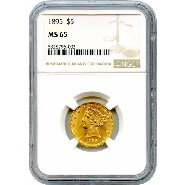 1895 $5 Liberty Head Half Eagle NGC MS65