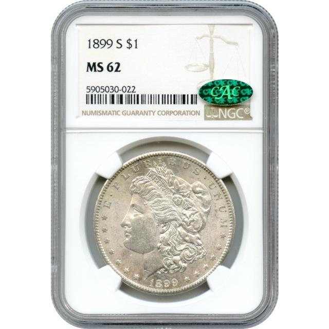 1899-S $1 Morgan Silver Dollar NGC MS62 (CAC)