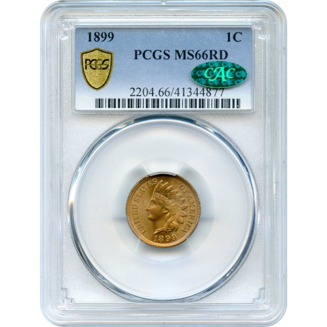 1899 1C Indian Head Cent PCGS MS66RD (CAC) from an original roll-!