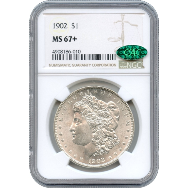 """1902 $1 Morgan Silver Dollar NGC MS67+ (CAC) """"Absolutely Finest Known!"""""""