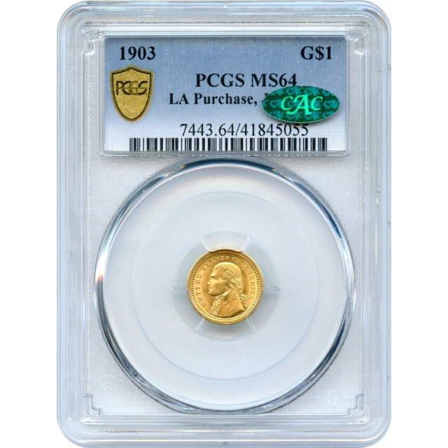 1903 G$1 Gold Commemorative, Louisiana Purchase Jefferson PCGS MS64 (CAC)