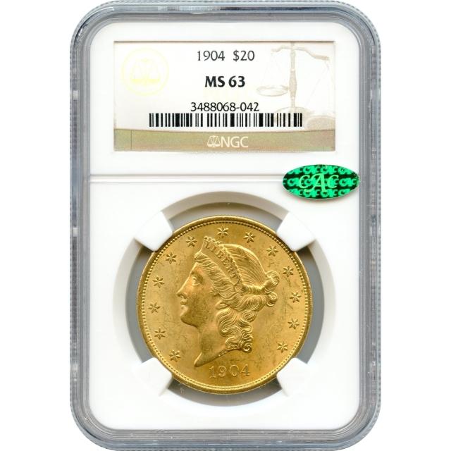 1904 $20 Liberty Head Double Eagle NGC MS63 (CAC)