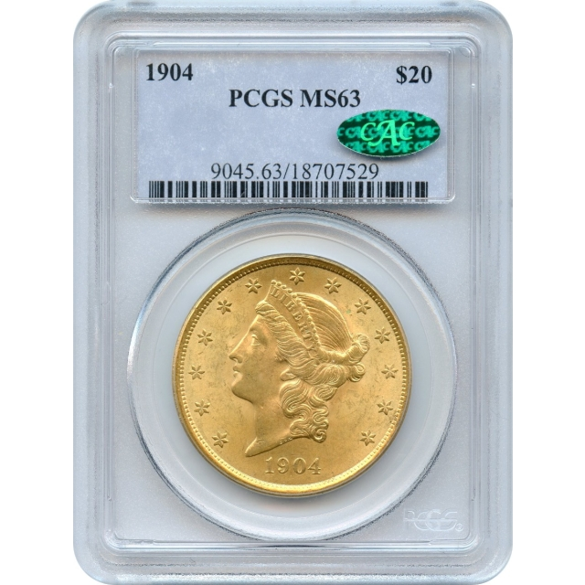 1904 $20 Liberty Head Double Eagle PCGS MS63 (CAC)