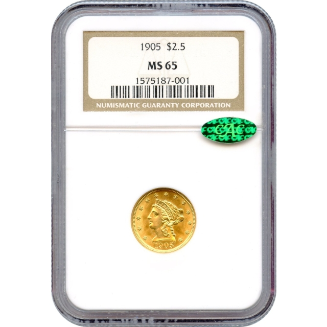 1905 $2.50 Liberty Head Quarter Eagle NGC MS65 (CAC)