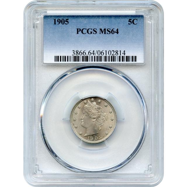 1905 5C Liberty Nickel PCGS MS64
